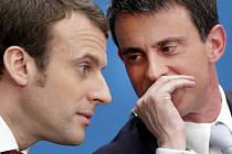 Ještě loni byl Emmanuel Macron (vlevo) podřízeným ve vládě Manuela Vallse (vpravo). Teď by se Valls rád ucházel o úspěch po boku nového francouzského prezidenta.