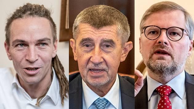 Zleva: Ivan Bartoš (Piráti), Andrej Babiš (ANO), Petr Fiala (ODS)