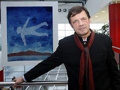 Výtvarník Petr Sís při slavnostním odhalení gobelínu na Letišti Václava Havla v Praze v neděli 9. prosince 2012.