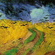 Pšeničné pole s havrany. Jeden z posledních obrazů. Místo, kde se Gogh postřelil