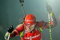 Biatlonistka Gabriela Soukalová ve vytrvalostním závodě na MS v Novém Městě na Moravě.