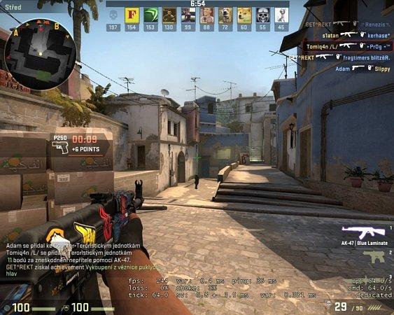 Počítačová hra Counter Strike: Global Offensive.