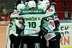 Hokejisté Karlových Varů se radují z gólu proti Zlínu.
