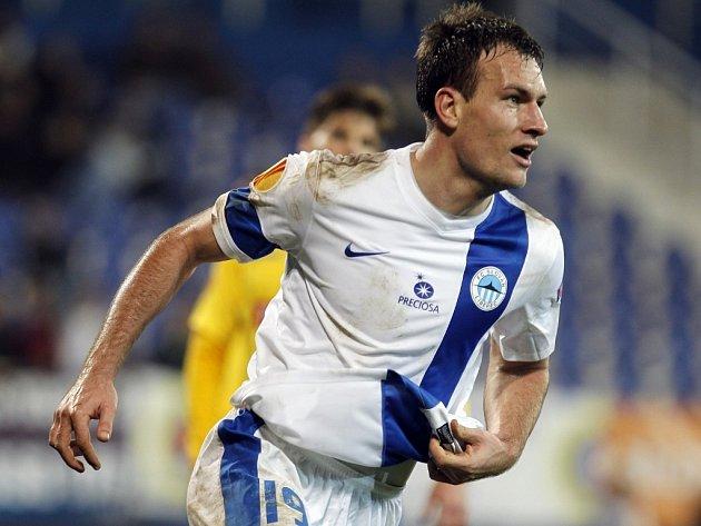 Michael Rabušic slaví svůj gól Liberce v síti Estorilu