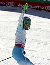 Šárka Strachová se raduje v cíli druhého kola slalomu na MS v Beaver Creeku.