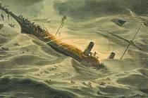 Dobová ilustrace zachycující potopení lodi