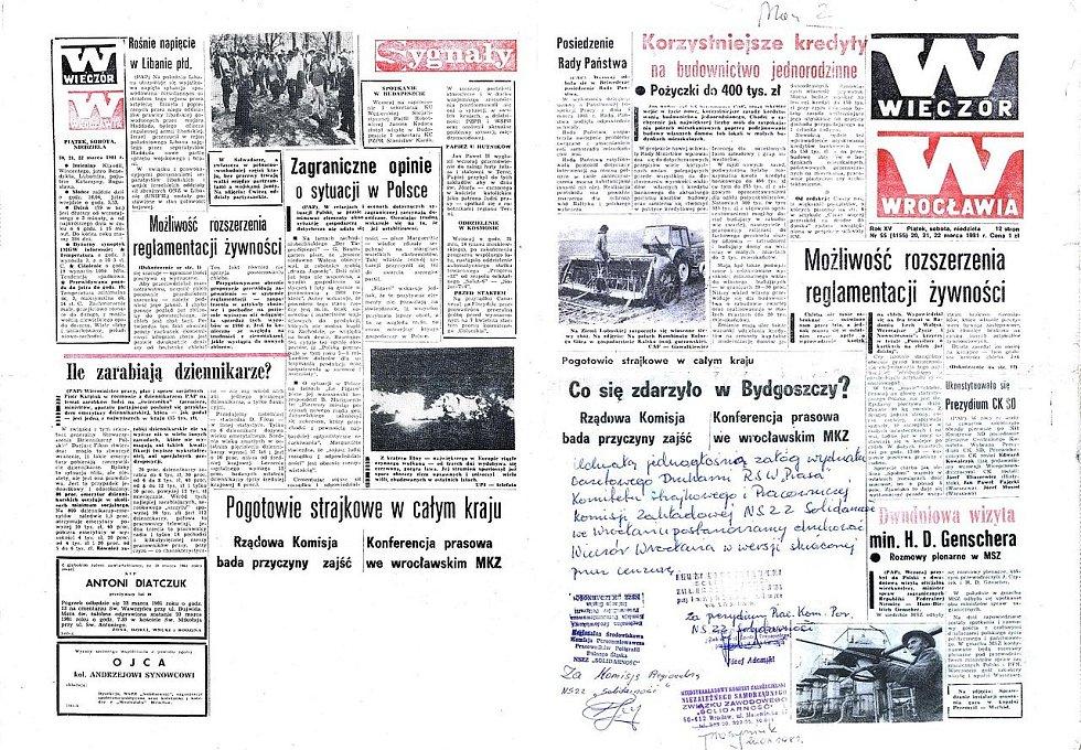 Polské noviny informující koncem března o bydhošťském incidentu