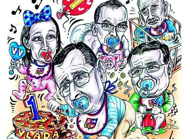 Karikatura - česká vláda.