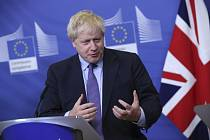 Britský premiér Boris Johnson na tiskové konferenci v Bruselu 17. října 2019
