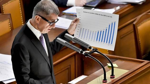 Andrej Babiš na jednání Poslanecké sněmovny o státním rozpočtu na rok 2020