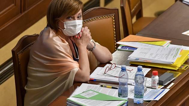 Ministryně financí Alena Schillerová (ANO) 15. září 2020 v Praze na schůzi Poslanecké sněmovny