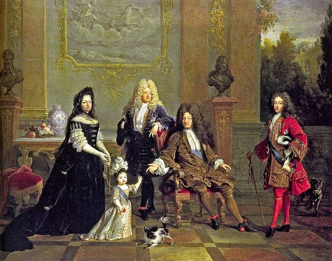 Francouzský král Ludvík XIV. se svými dědici