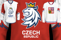 Čeští hokejisté budou hrát v nových dresech s novým logem (vlevo). Vpravo je dres z roku 2010.