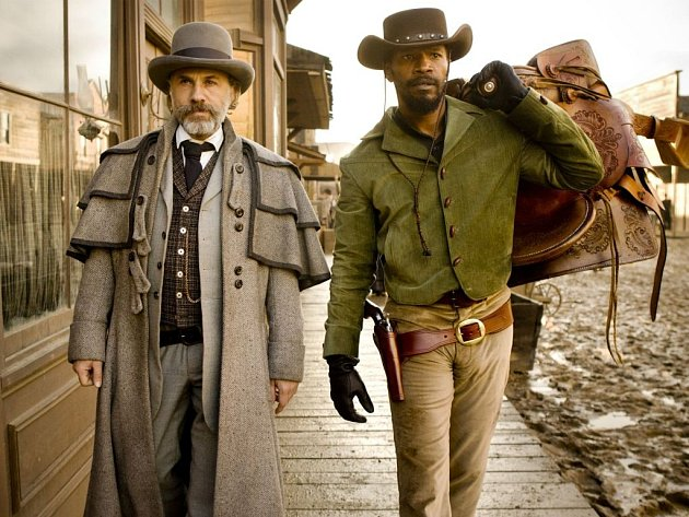 Western Quentina Tarantina Nespoutaný Django s oscarovými herci Jamiem Foxxem, Christophem Waltzem a Leonardem DiCapriem. Ilustrační foto.