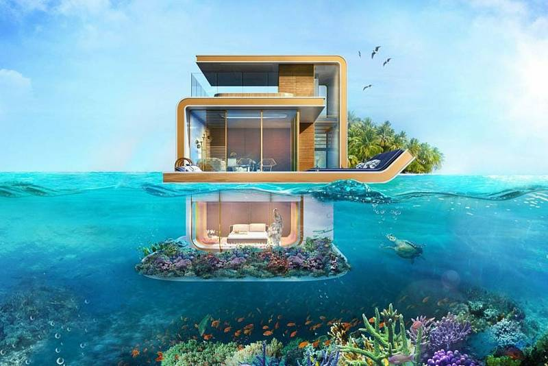 Tři patra, jedno s výhledem na uměle vytvořené souostroví, druhé na úrovni mořské hladiny, třetí pod hladinou - přes okna je z něj vidět na korálový útes. Takový luxus nabízí unikátní vily, jejichž kolonie nyní vzniká v Dubaji.