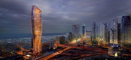 Nový dubajský mrakodrap wasl Tower připomíná obří keramickou vázu