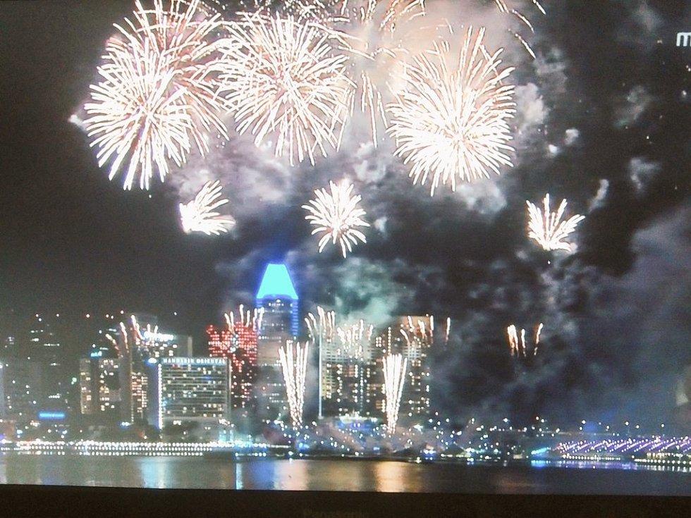 Novoroční ohňostroj v Singapuru