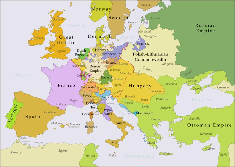 Mapa Evropy před rokem 1740, kdy bylo Slezsko jednou ze zemí Koruny České