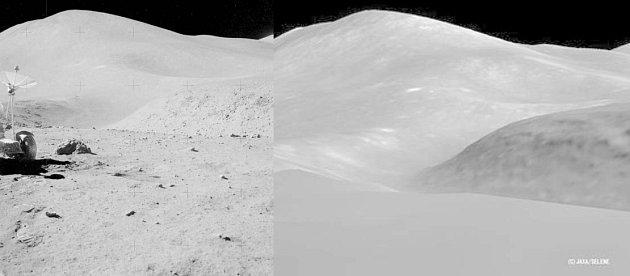 Koláž zachycující pohoří Montes Apenninus. Vlevo Apollo 15, vpravo složenina fotografií sondy Kaguja.