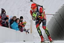 Biatlonista Ondřej Moravec ve sprintu MS v Novém Městě na Moravě.