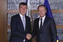 Český premiér Andrej Babiš (vlevo) a předseda Evropské rady Donald Tusk