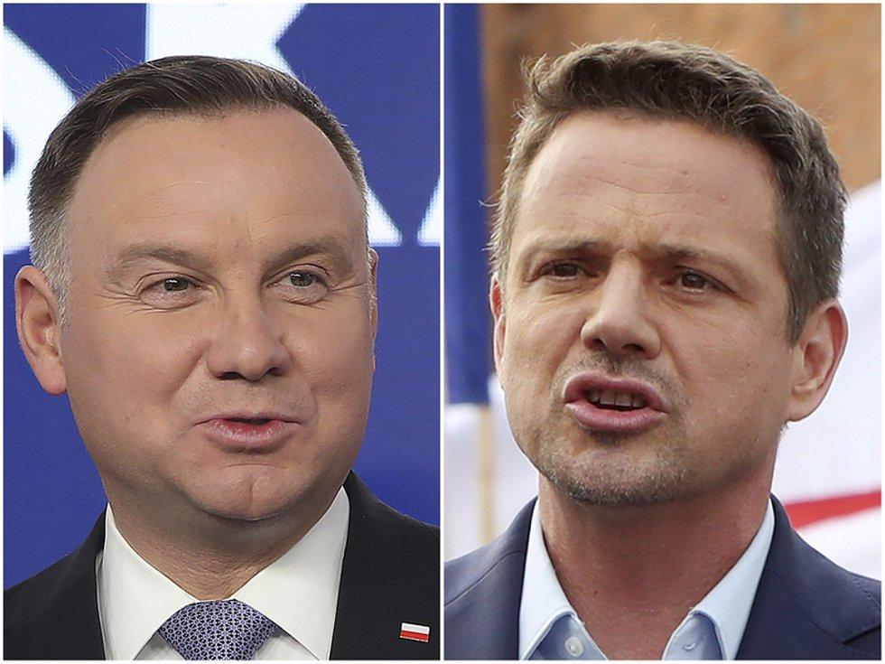 Finalisté prezidentských voleb v Polsku Andrzej Duda (vlevo) a Rafal Trzaskowski na kombinované fotografii