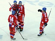 Švéd Nicklas Grossman (velvo) atakovaný ruským hráčem Alexanderem Radulovem.