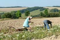 Manželé Biskupovi na poli, za nímž leží hnojiště, ve kterém někdo ukryl předčasně narozené dítě.