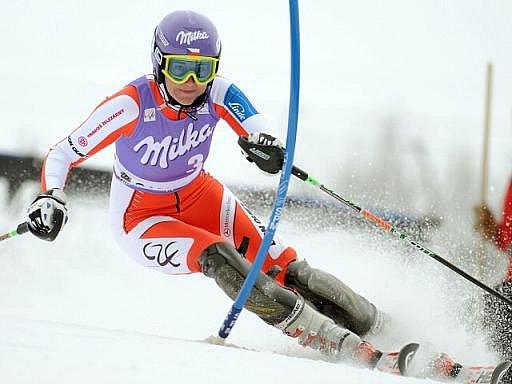 Šárka Záhrobská ve slalomu v Ga-Pa.