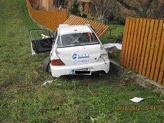 Místo havárie při Autogames Rallye závodech u Lopeníku, kde zemřeli čtyři lidé.