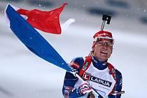 MS v biatlonu: Ondřej Moravec a finiš s českou vlajkou