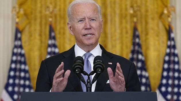 Americký prezident Joe Biden na tiskové konferenci v Bílém domě k situaci v Afghánistánu, 16. srpna 2021.