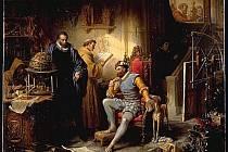 Astrolog Tycho de Brahe (stojící) ve společnosti císaře Rudolfa II. v roce 1600 na pražském dvoře
