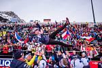 Mistrovství světa v biatlonu: smíšená štafeta, 13. února v Anterselvě. Český tým se raduje z třetího místa, nahoře je Markéta Davidová