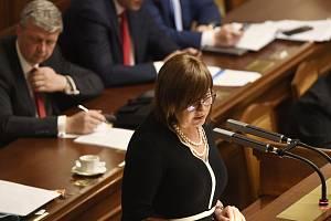 Ministryně financí Alena Schillerová (za ANO) vystoupila 23. října 2019 v Praze na schůzi Poslanecké sněmovny
