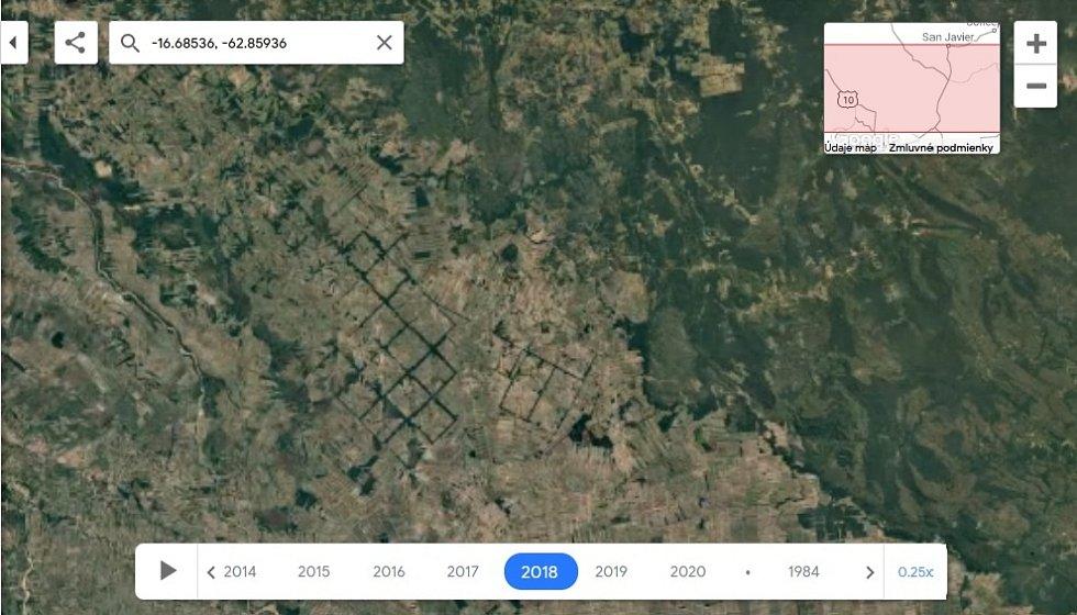 Nová aplikace Google Earth Timelapse umožňuje vidět proměnu planety v posledních čtyřiceti letech. Na snímku odlesňování pralesa v Bolívií, rok 1997.
