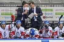 Trenér českého týmu Filip Pešán (vlevo) a jeho asistent Jaroslav Špaček.