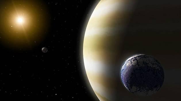 Umělecká představa exoměsíce podobného Zemi, obíhajícího kolem plynné obří planety v obyvatelné zóně
