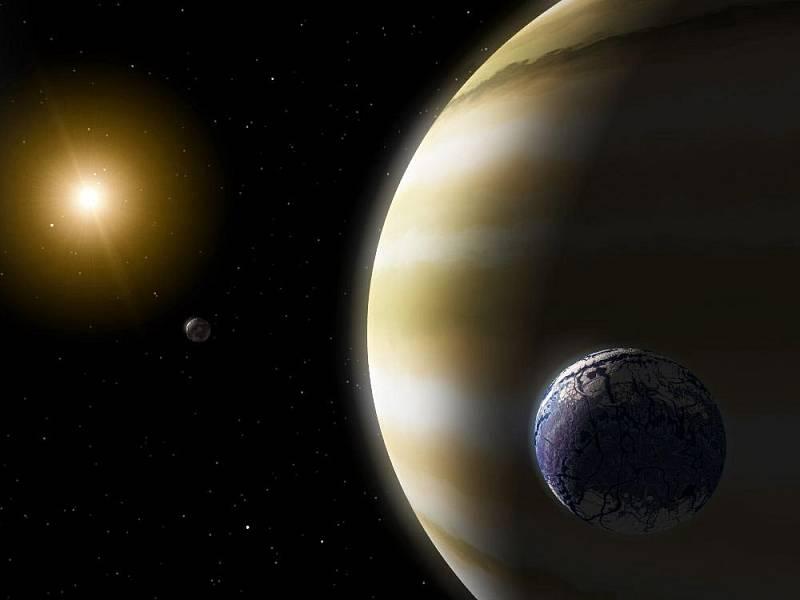 Umělecká představa exoměsíce podobného Zemi, obíhajícího kolem plynné obří planety v obyvatelné zóně hvězdy