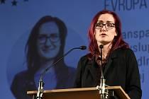 Kandidátka Markéta Gregorová vystoupila 3. března 2019 v Praze na tiskové konferenci k zahájení kampaně Pirátů před volbami do Evropského parlamentu