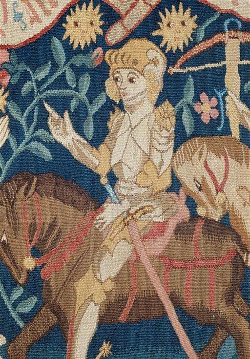 Jana z Arku ve zbroji a v sedle, výřez z tapiserie