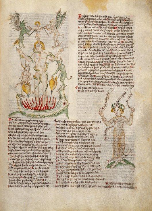 Nahý muž pojídaný červy a žena oděná v rybářské síti - výjev ze středověkého manuskriptu