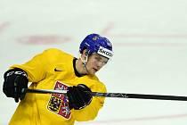 Radek Faksa na tréninku hokejové reprezentace.