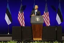 Americký prezident Barack Obama při svém projevu v estonském Tallinnu.