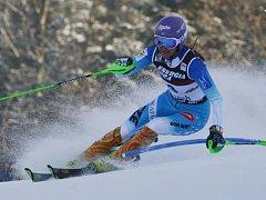 Šárka Strachová ve slalomu SP v Záhřebu.