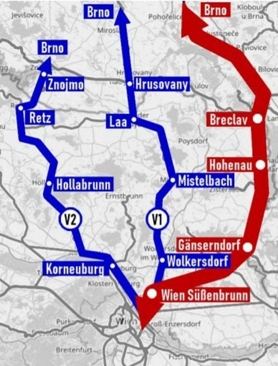 Železniční koridor mezi Vídní a Brnem zaznamenává silný nárůst v osobní i nákladní dopravě.  Aby se snížilo zatížení hlavní trasy, odborníci zvažují alternativu pomocného koridoru přes Znojemsko.