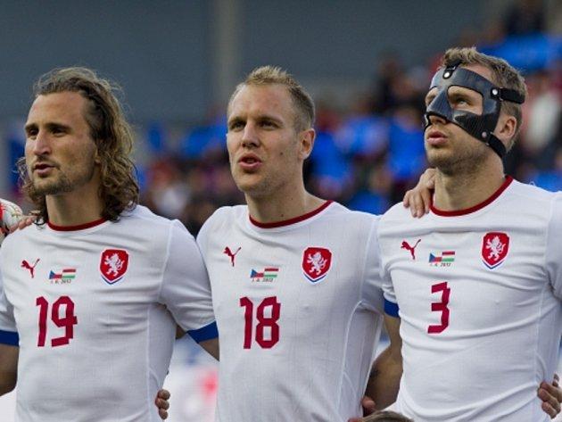 Čeští fotbalisté (zleva) Petr Jiráček, Daniel Kolář a Michal Kadlec.