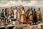 Josef Mathauser: Karel IV. pokládá základní kámen k novému mostu