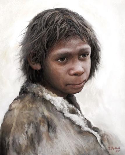 Rekonstrukce možné podoby neandertálského dítěte od Toma Björklunda