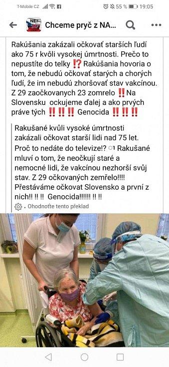 Lživá zpráva, která se rozšířila po českém a slovenském internetu a označuje očkování za genocidu